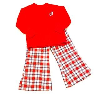 Vintage Red Plaid Bell Bottoms 3T Health-Tex Set
